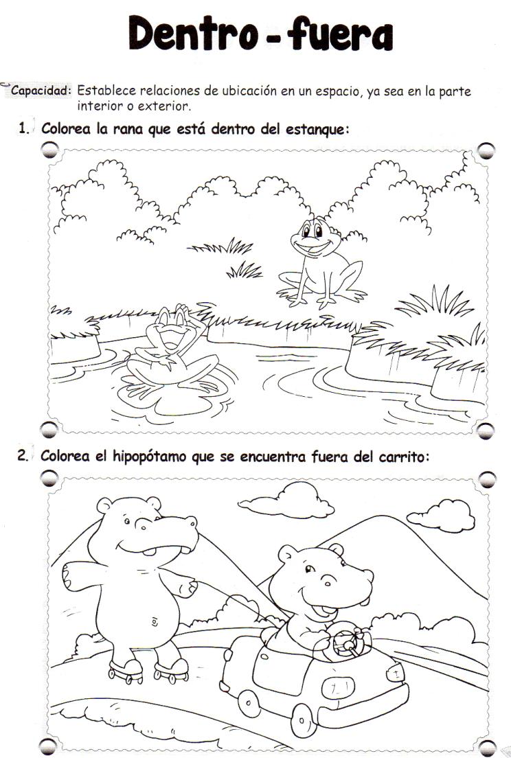 Conceptos espaciales DENTRO-FUERA. Ejercicio en formato ficha ...