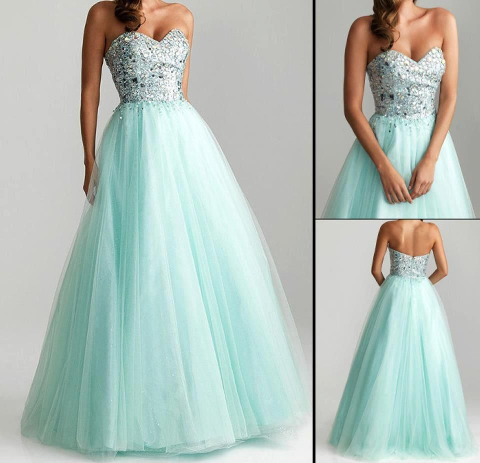 Sweetheart Greens Tulle A Line Prom Evening Ball Gowns Quincenaera Dress