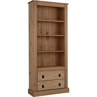 2 Drawer Tall Wide Bookcase Solid Pine At Argos Co Uk