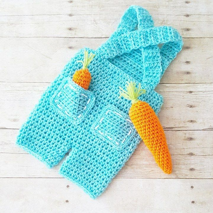 4997393ced1d8 Crochet Baby Carrot Farmer Overalls Pants Shorts set Bunny Easter Spring Infant  Newborn Baby Handmade Photography Photo Prop Baby Shower Gift Present