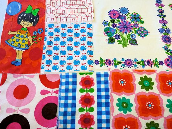 Juvenile vintage fabric pieces remnants 60s 70s Scandinavian children DIY cushion pillow