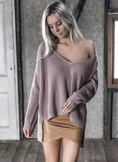 Huge discount on  Deep V Neck Off Shoulder Pullover Sweaters ... 885bc9fba