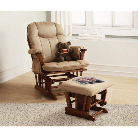 Baby Relax Deluxe Glider Rocker And Ottoman Walnut Brown