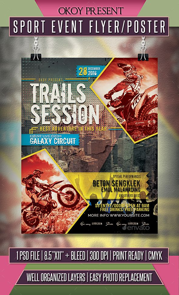 Sport Event Flyer \/ Poster Event flyers, Flyer template and Template - event flyer templates