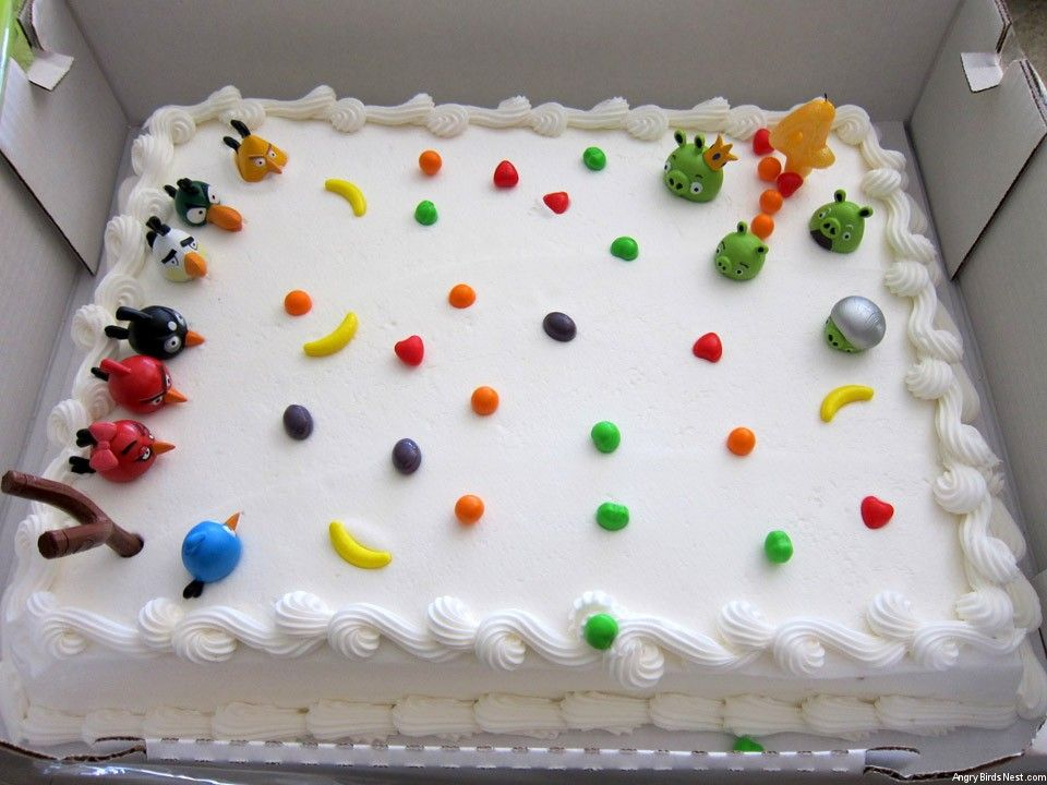 Plain white cake from Costco decorated w Runts Angry Birds