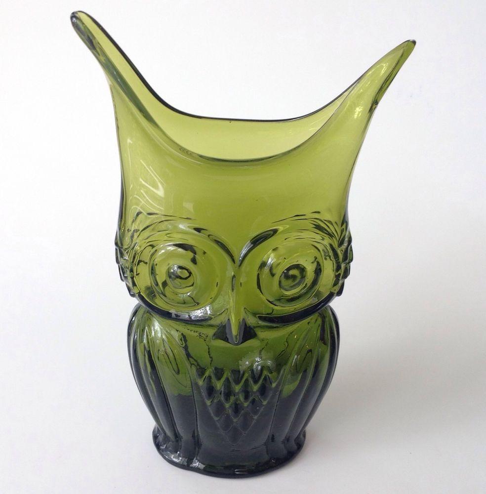 Viking rainbow art glass owl vase flattened avocado green hand viking rainbow art glass owl vase flattened avocado green hand blown vtg mod reviewsmspy