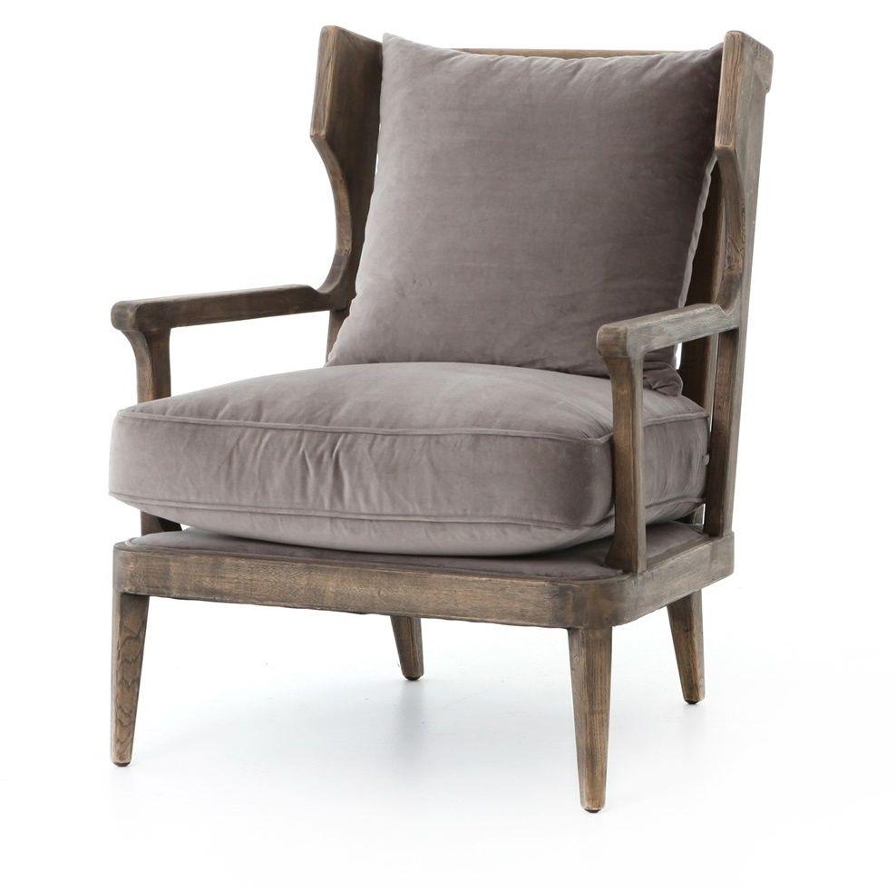 Lennon Exposed Oak Gray Velvet Wingback Chair Pine Grove