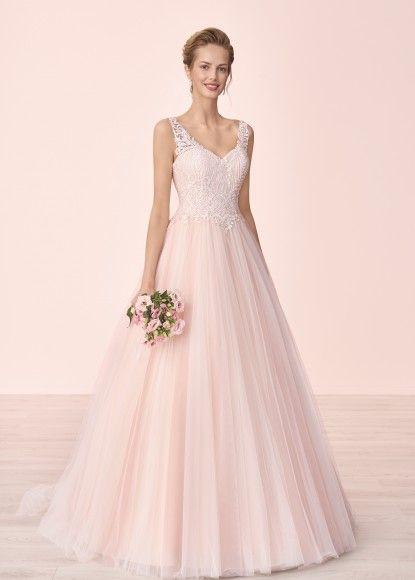 4091t Przód Różowy Tiul Tył W V Romantyczna Suknia ślubna