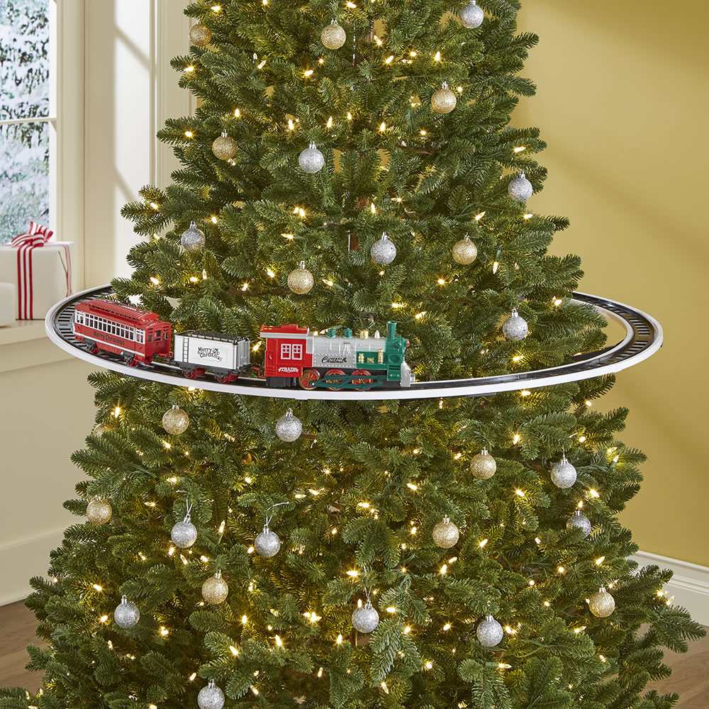 The Elevated Christmas Tree Train Hammacher Schlemmer Christmas Tree Train Christmas Tree Train Set Train Around Christmas Tree