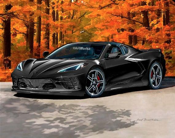 Black 2020 Chevrolet Corvette C8 Auto Art Mid Engine Sportscar Supercar Car Art Aw116a Chevrolet Corvette Chevrolet Corvette Stingray Super Cars