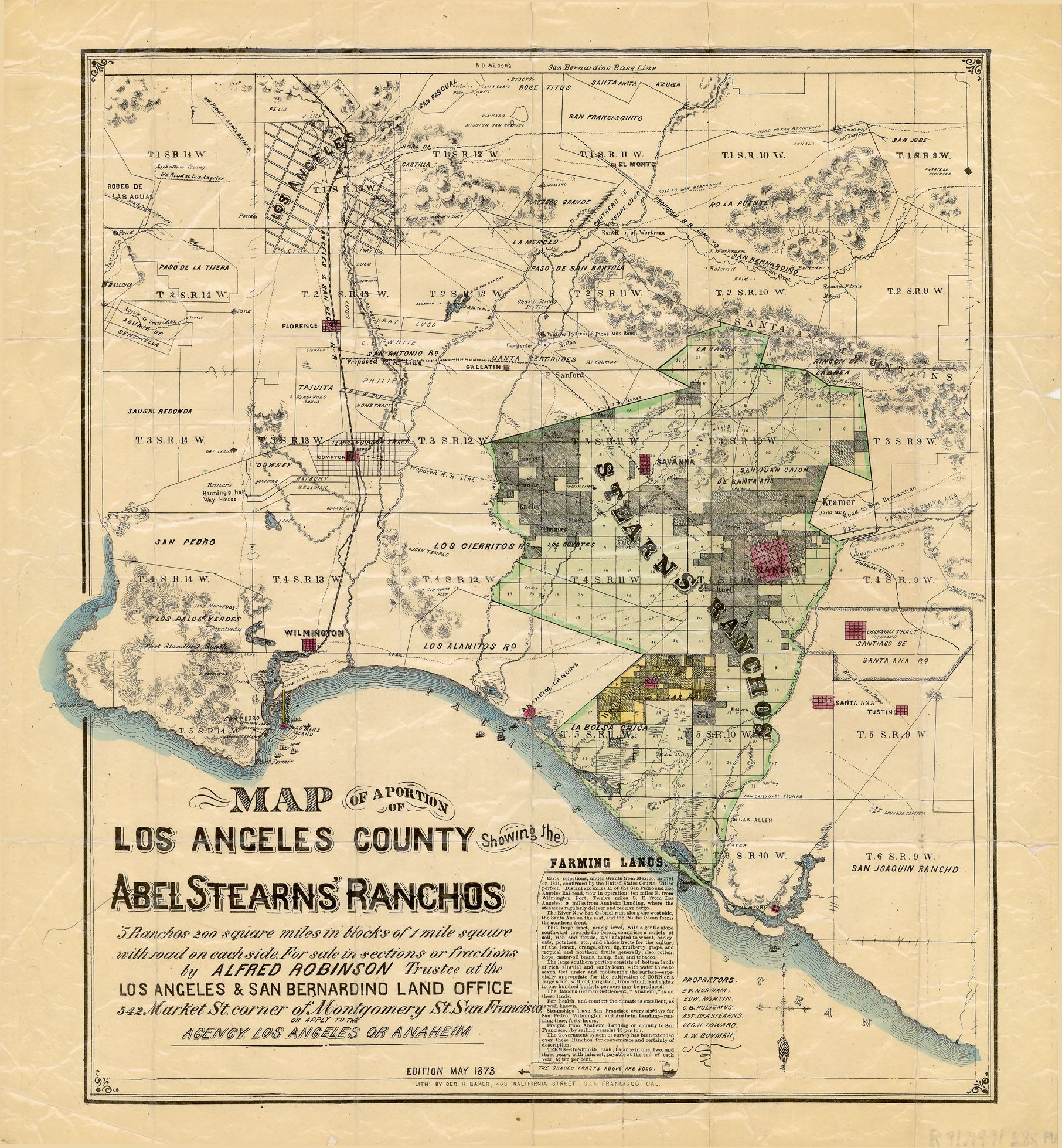 1873 Map Showing The Spanish Rancho S Los Angeles Map Map California History