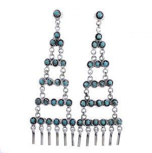 Southwestern Jewelry Turquoise Post Dangle Earrings PX31198 http://www.silvertribe.com