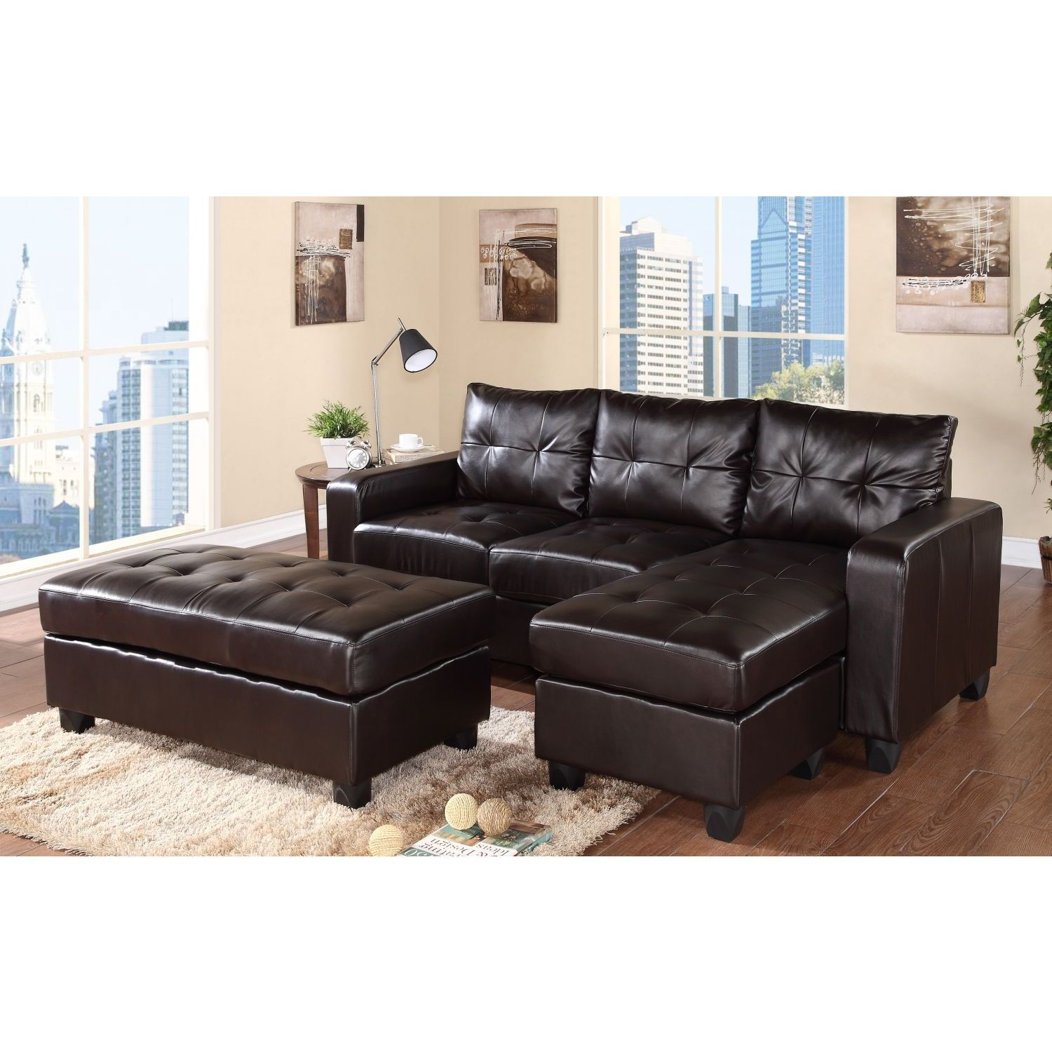 Awesome Aspen Reversible Espresso Bonded Leather Chaise Sectional Ncnpc Chair Design For Home Ncnpcorg