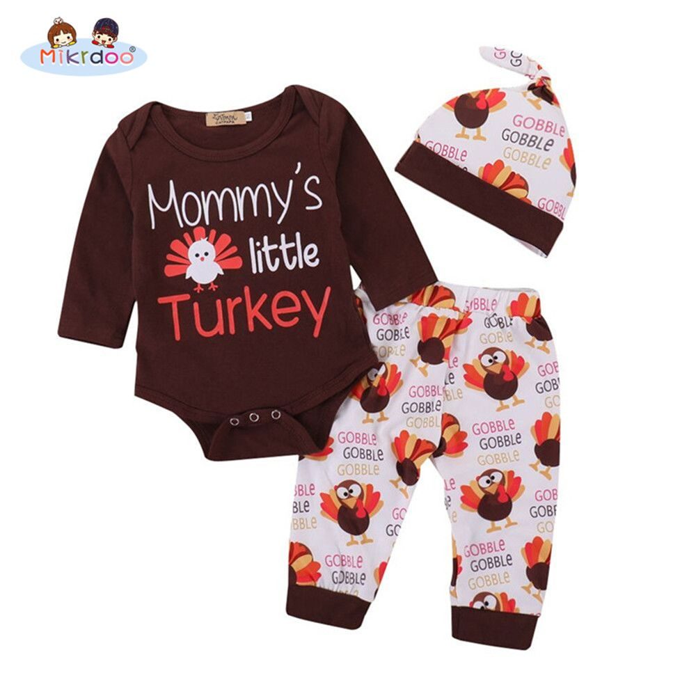 430fab8cb Thanksgiving Baby Boys Girls Clothes Mommy s Little Turkey 3PCS ...