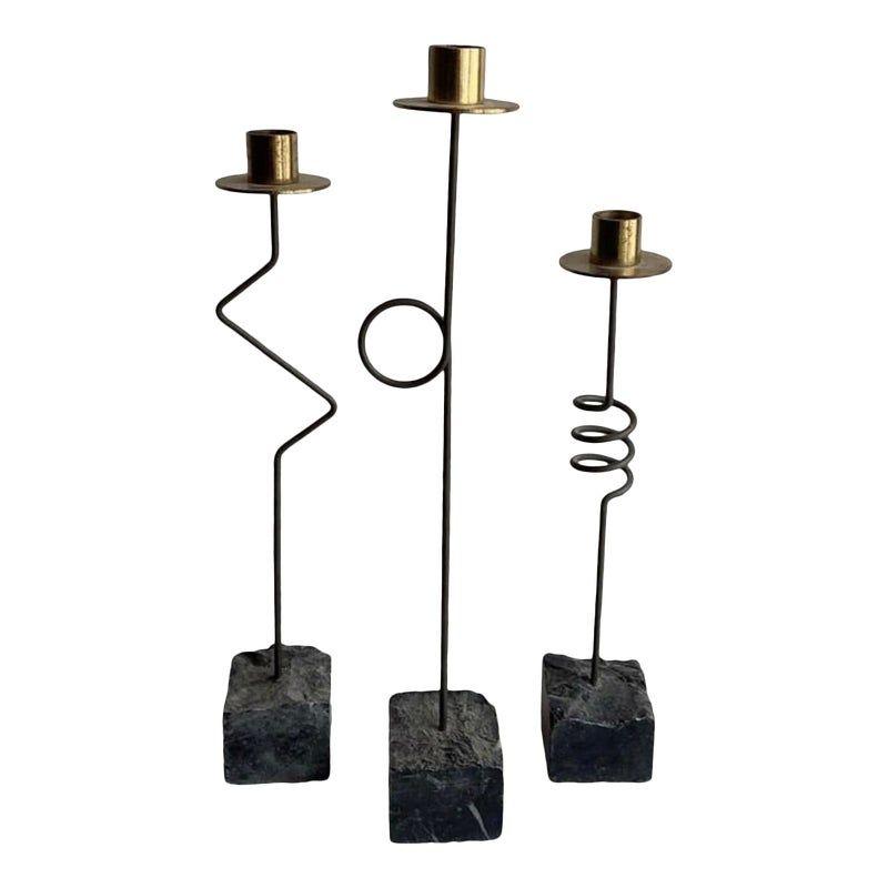 Memphis Design Iron and Brass Candlesticks - Set of 3