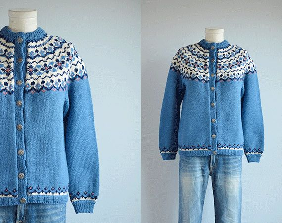 Items similar to Vintage Nordic Cardigan / 1960s Hand Knit ...