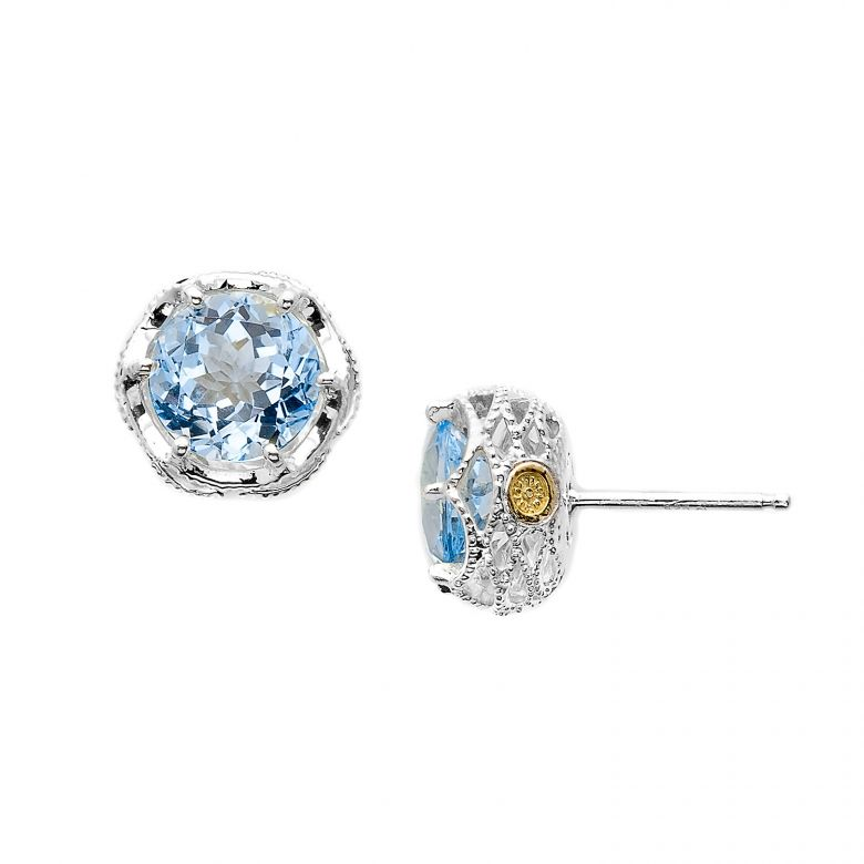 Something Blue These delicate sky blue topaz studs from Tacoris