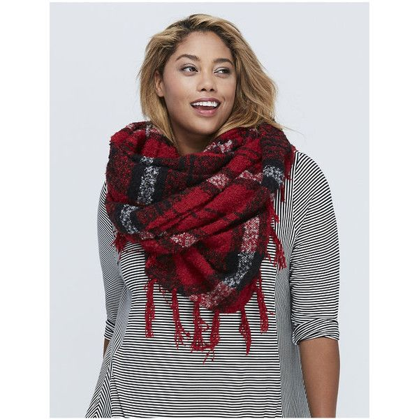 Lane Bryant Plaid Boucle Scarf with Fringe ($30) ❤ liked on Polyvore featuring accessories, scarves, red, plaid shawl, tartan plaid scarves, tartan scarves, tartan plaid shawl and fringe shawl