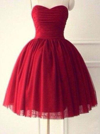 Knee Length Red Tulle Dress
