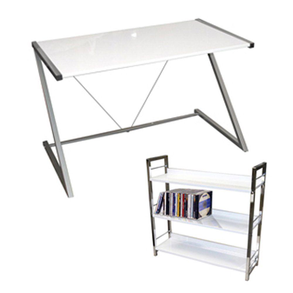 INDIGO - Gloss Office Desk / Workstation + FREE Shelves - White ...