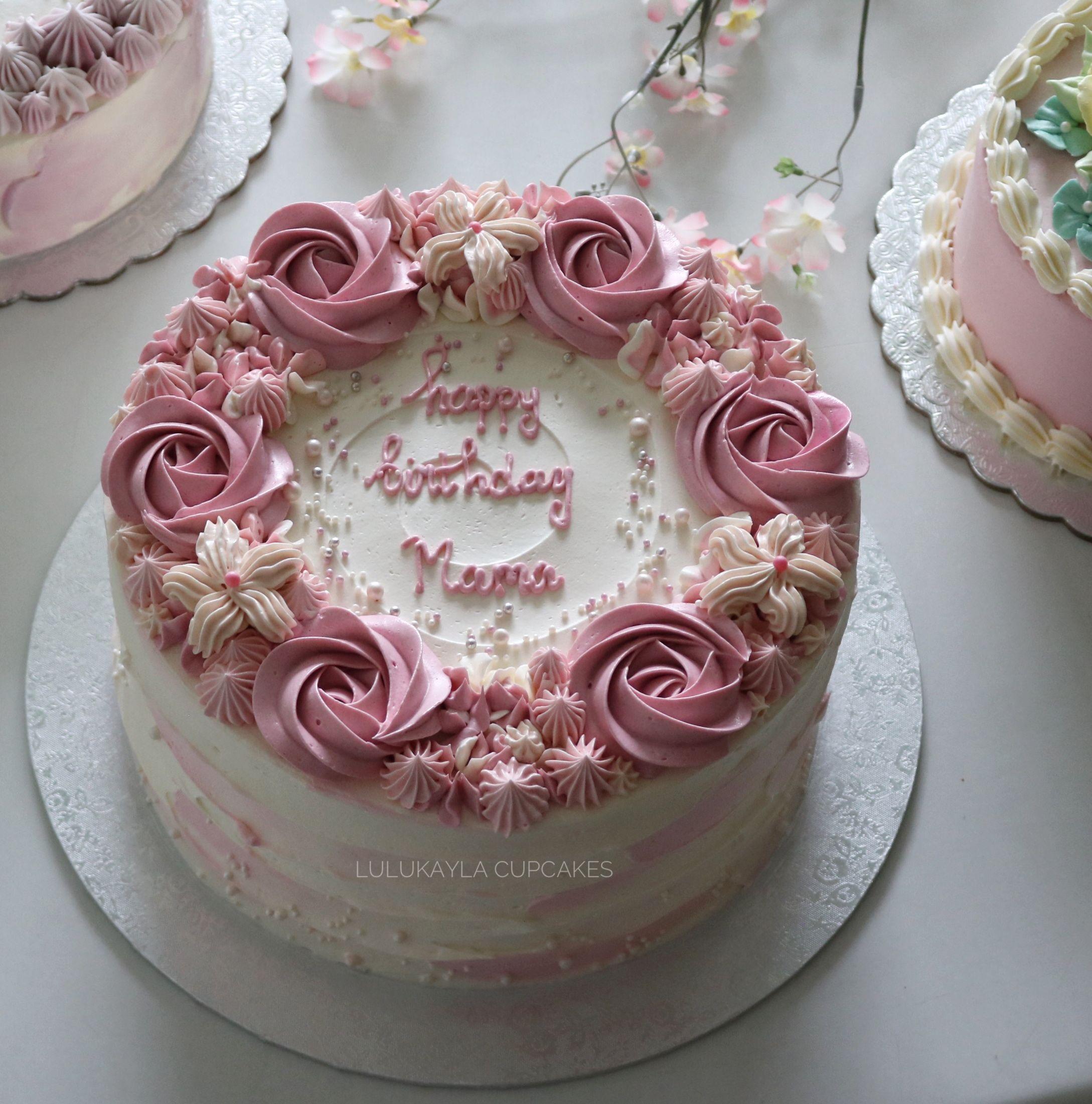 Flower Buttercream Cake Buttercream Birthday Cake Simple Birthday Cake Mom Cake
