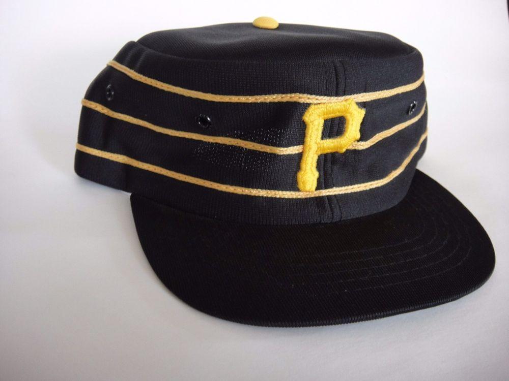e3a5d723b52e1 Vtg Pittsburgh Pirate Throwback Black Pillbox Snapback MLB Cap Hat Large YA  70s