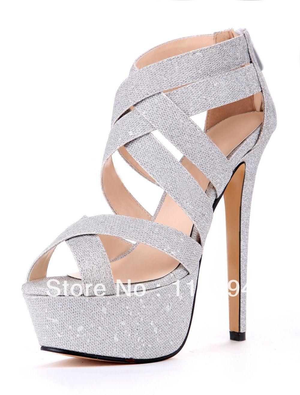 3d4828457 ... Compro Qualidade Sandálias diretamente de fornecedores da China: 2013 de  Moda de Nova Prata Preto Mulher Gladiador sandálias salto alto sapatos de  festa ...
