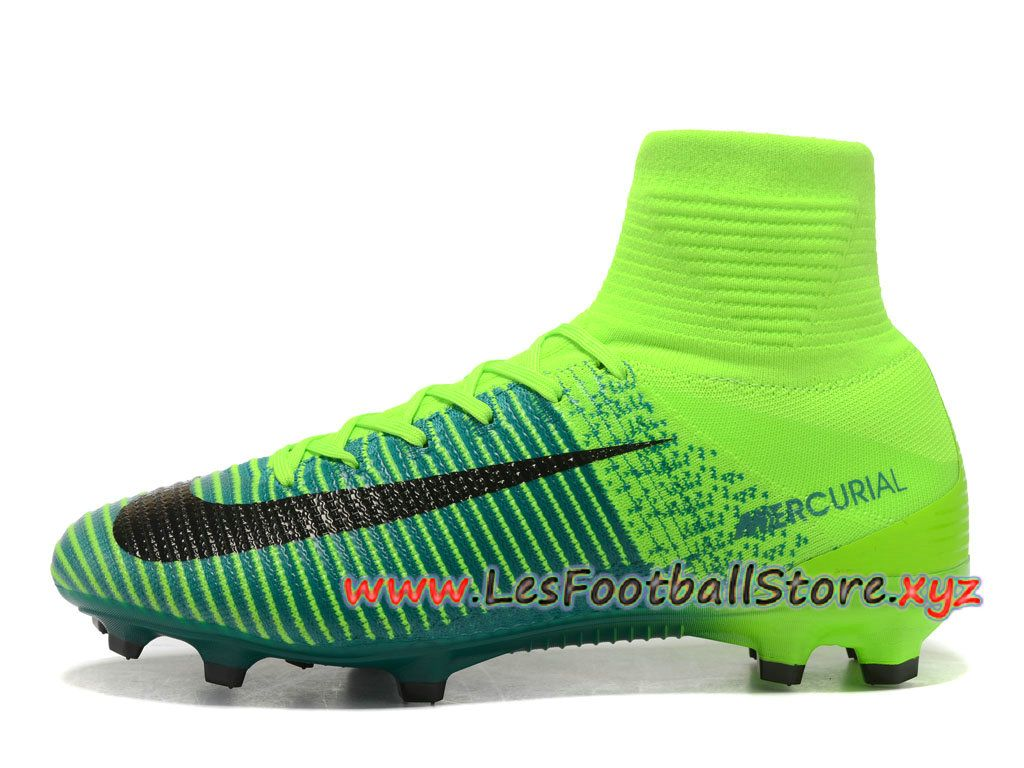 new product 9b58b 77ddb Nike Mercurial Superfly V FG Chaussure de football 2018 Pas Cher Pour Homme  noires Vert-