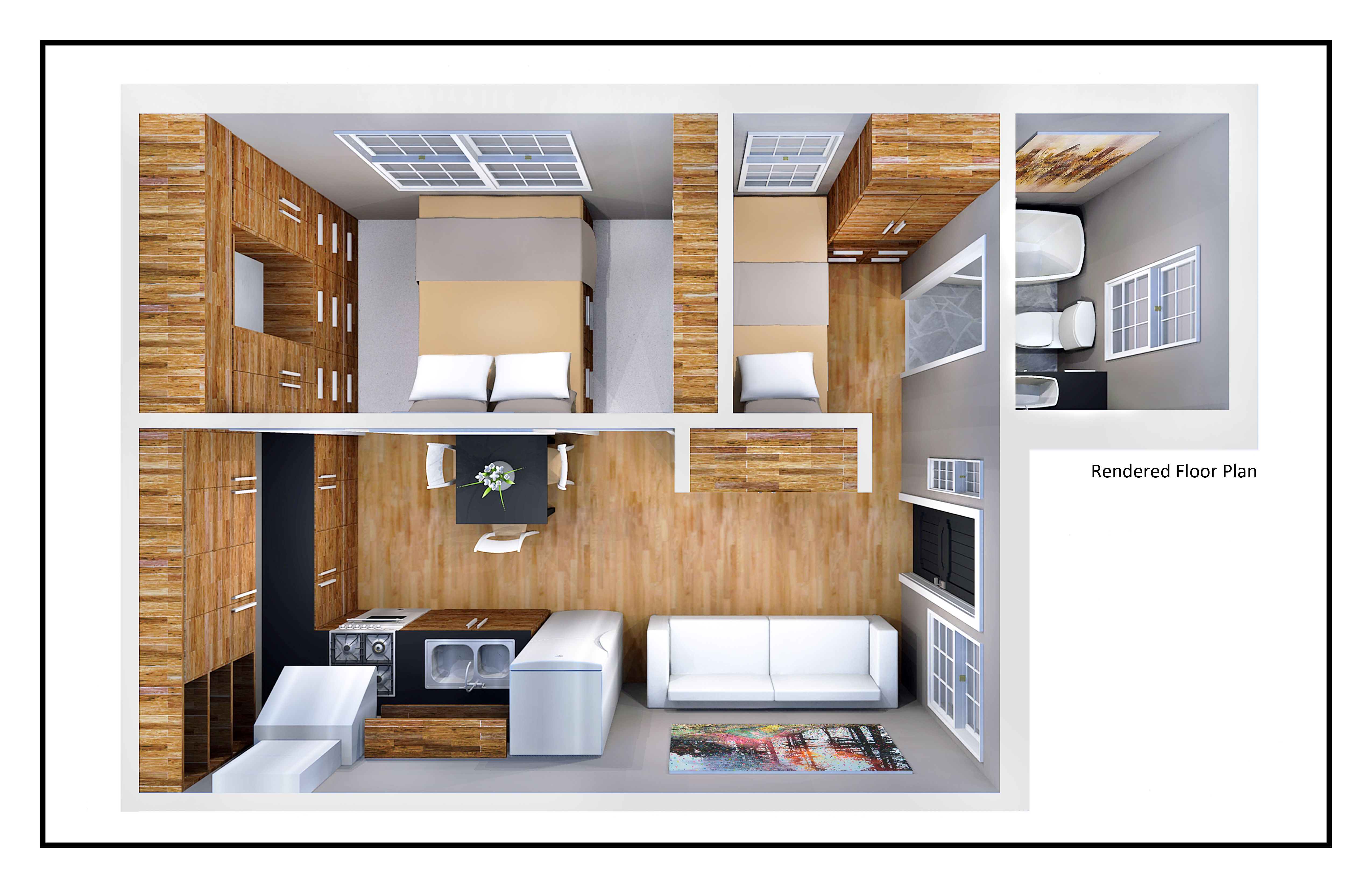 400 Square Foot House By Jordan Parke At Coroflot Com Studio Apartment Floor Plans Small House Kits Small House Plans