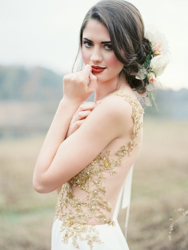Sheer gold wedding dress | Brandi Smyth Photography for @Smitten Magazine | see more on: http://burnettsboards.com/2014/04/field-dreams-editorial-smitten-magazine/ #wedding