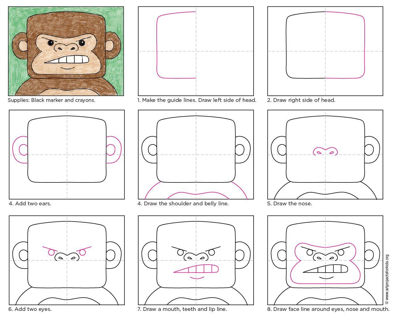 How To Draw A Gorilla Art Projects For Kids Leer Tekenen Tekenen Teken