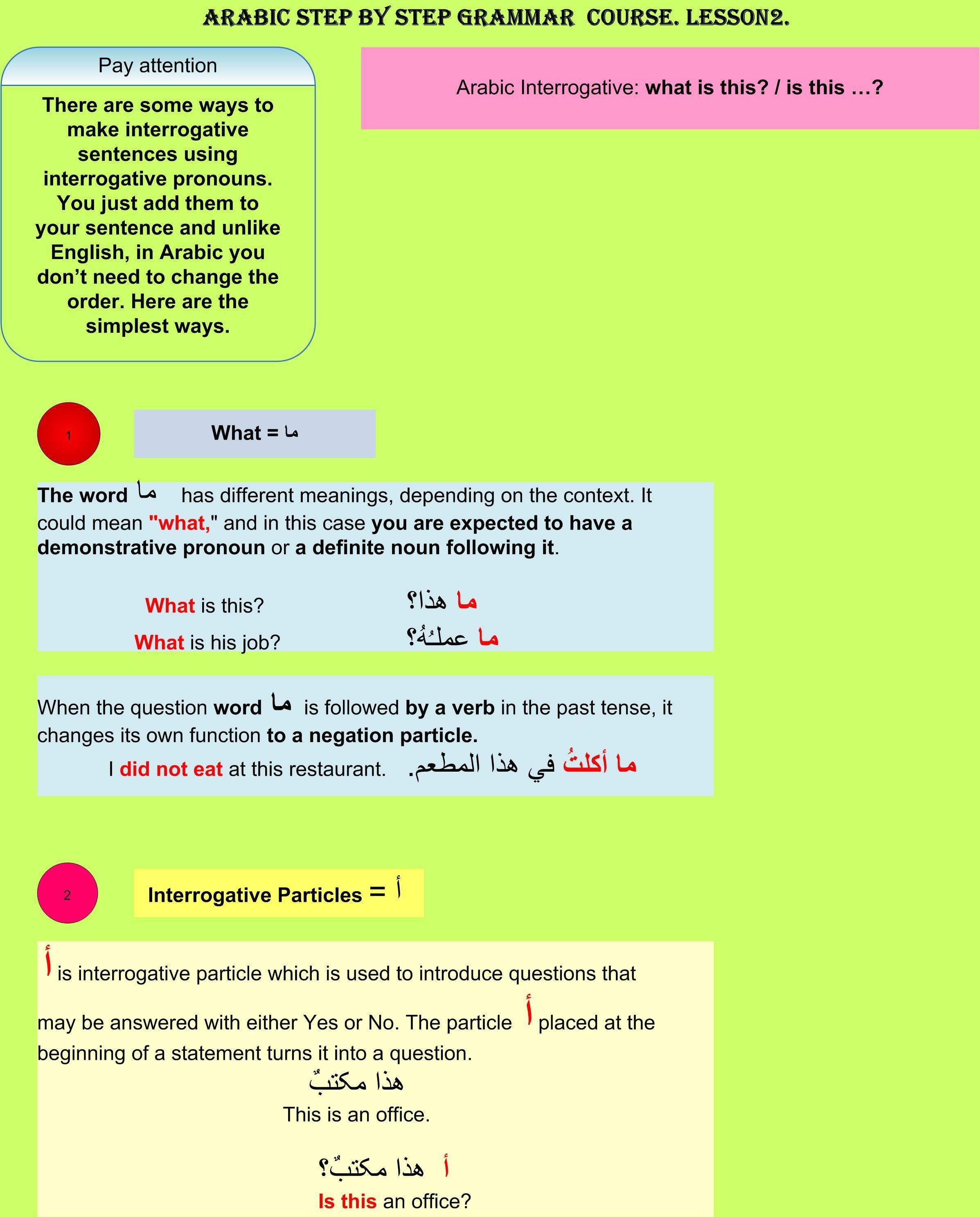 Arabic Step By Step Grammar Course Lesson 2