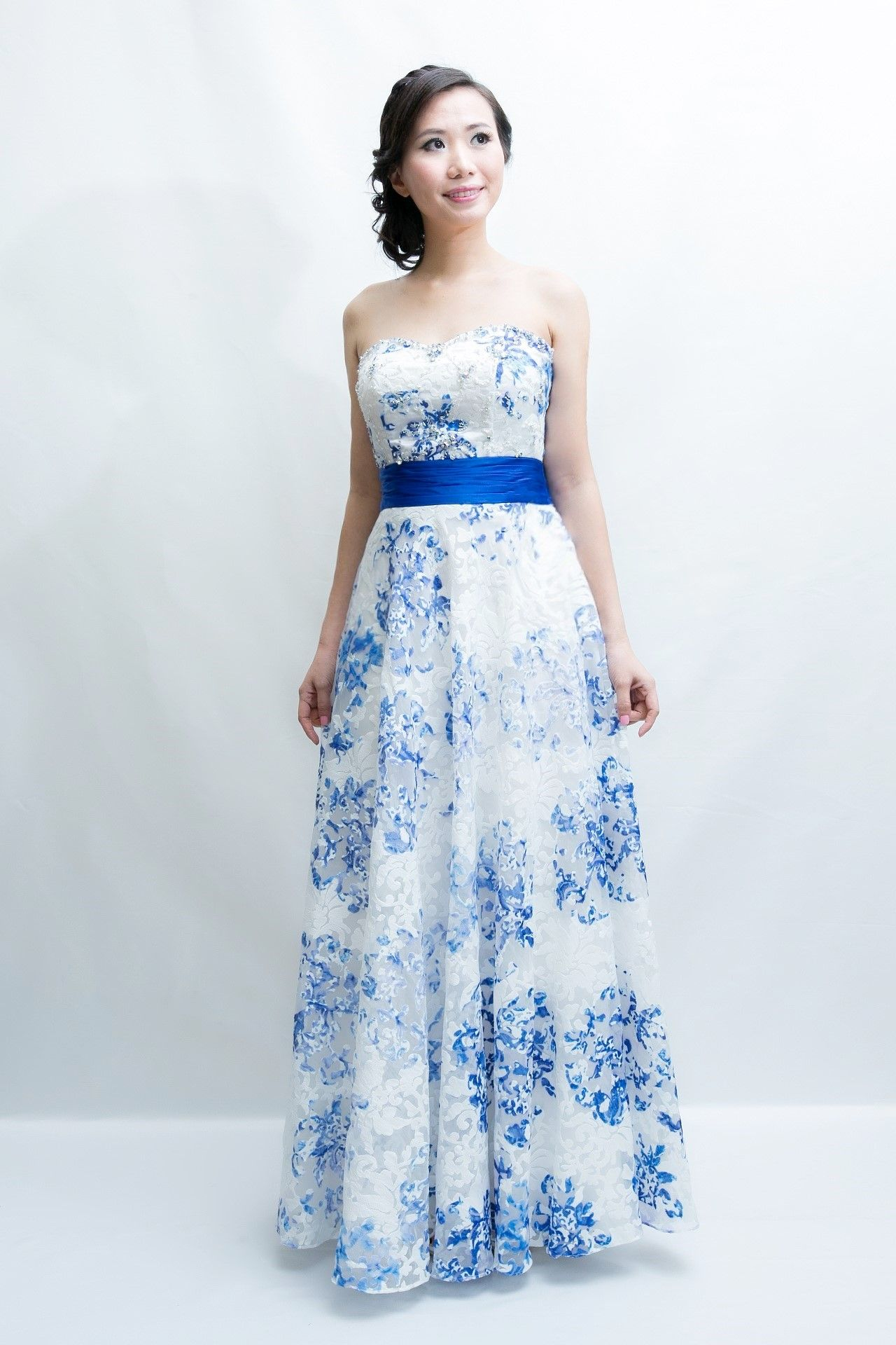 Sweetheart Blue and White Evening Gown, latest design by our ...