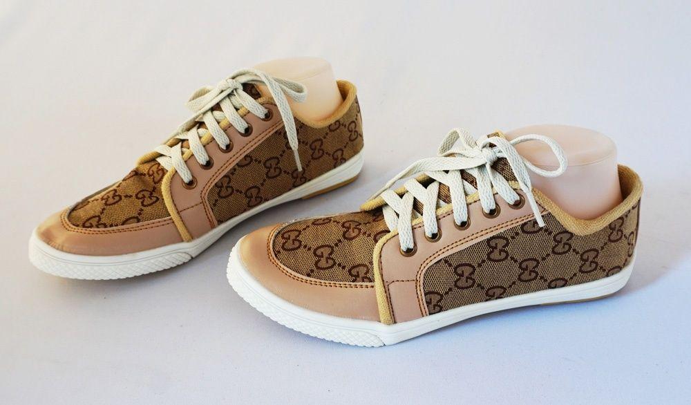 Sepatu Motif Cantik Model Tali Bahan Kanvas Dan Kulit Sintetis