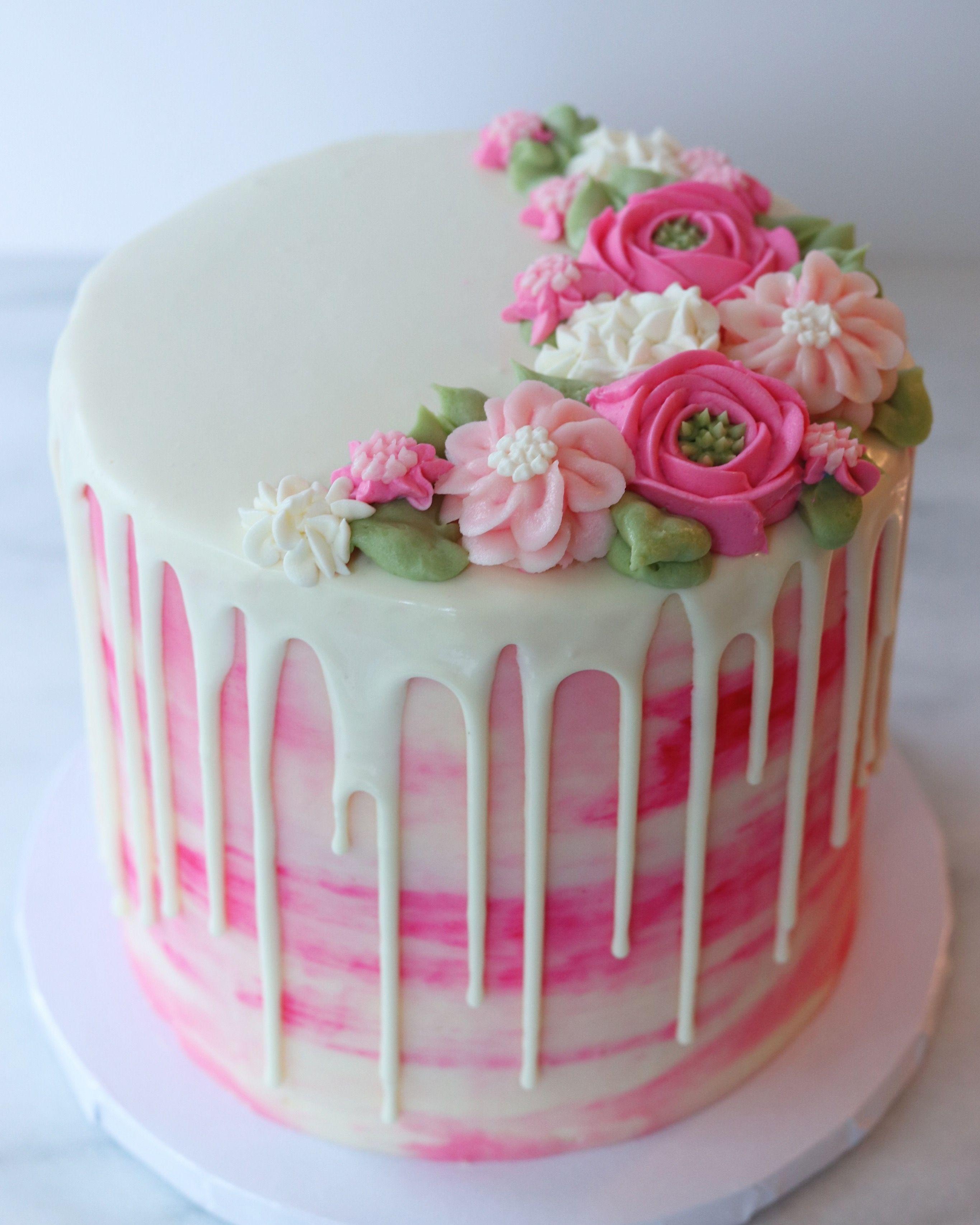Strange Drip Cake With Buttercream Flowers Cake Decorating Creative Personalised Birthday Cards Akebfashionlily Jamesorg