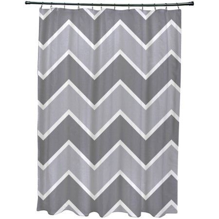 Simply Daisy 71 Inch X 74 Inside The Lines Chevron Geometric Print Shower Curtain