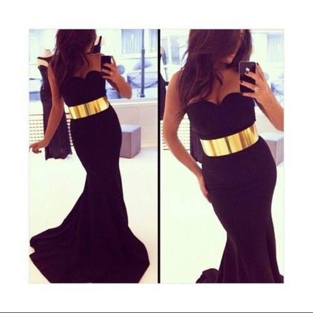 Black Dress With Gold Belt Vestidos De Fiesta Vestido
