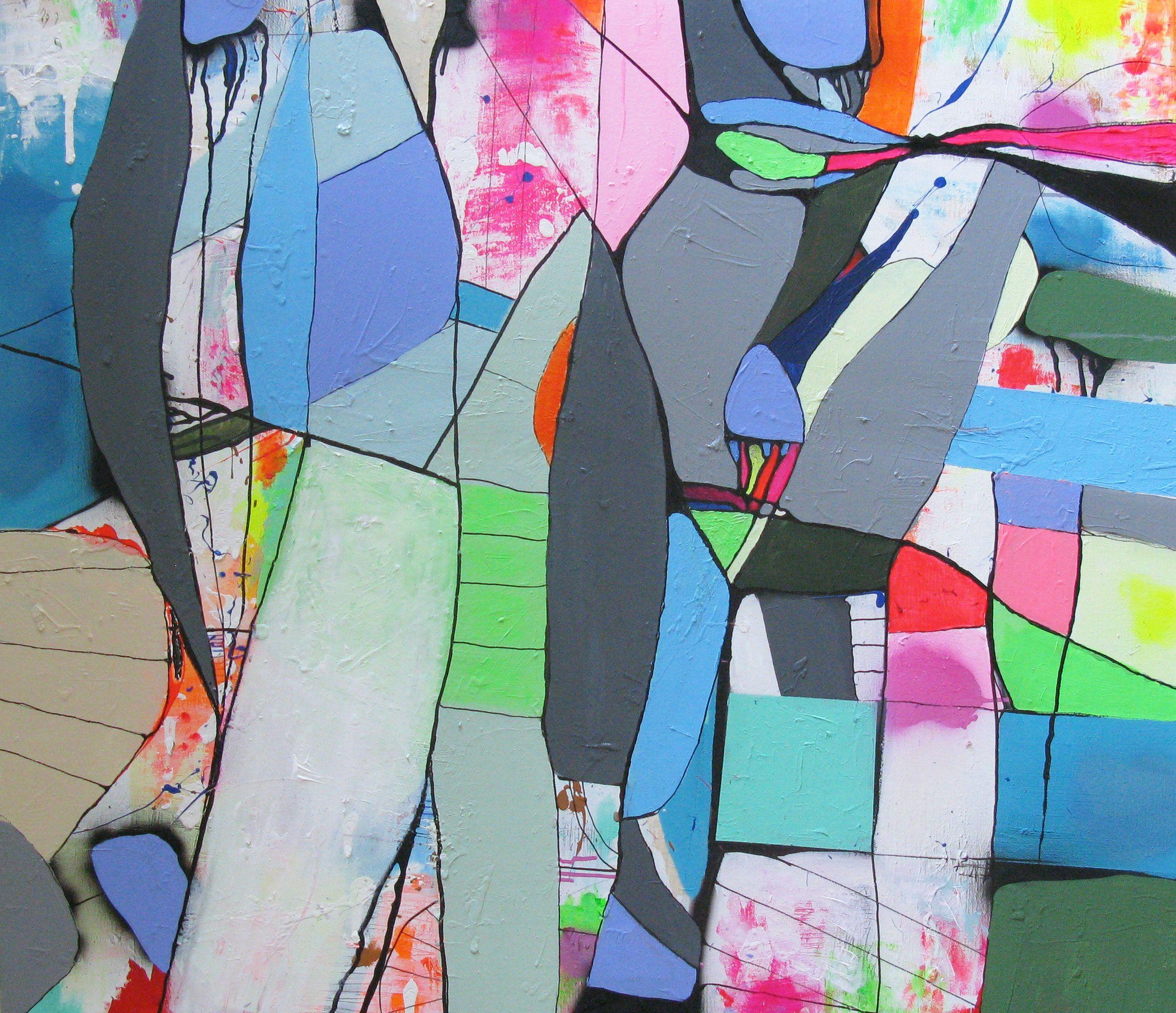 """Maleriet LINEDANS er nu færdigt. 100x120cm - find det på www.bjerker.com #art#modernart#farver""""kunst#maleri#bjerker"""