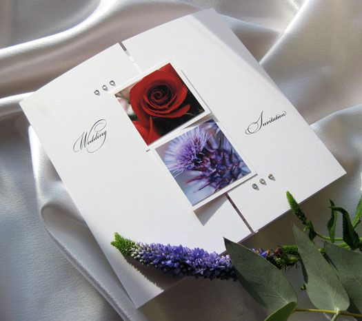 White rose and thistle wedding invitations