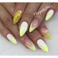 Yellow And White Almond Nails Spring 2016 Nailart