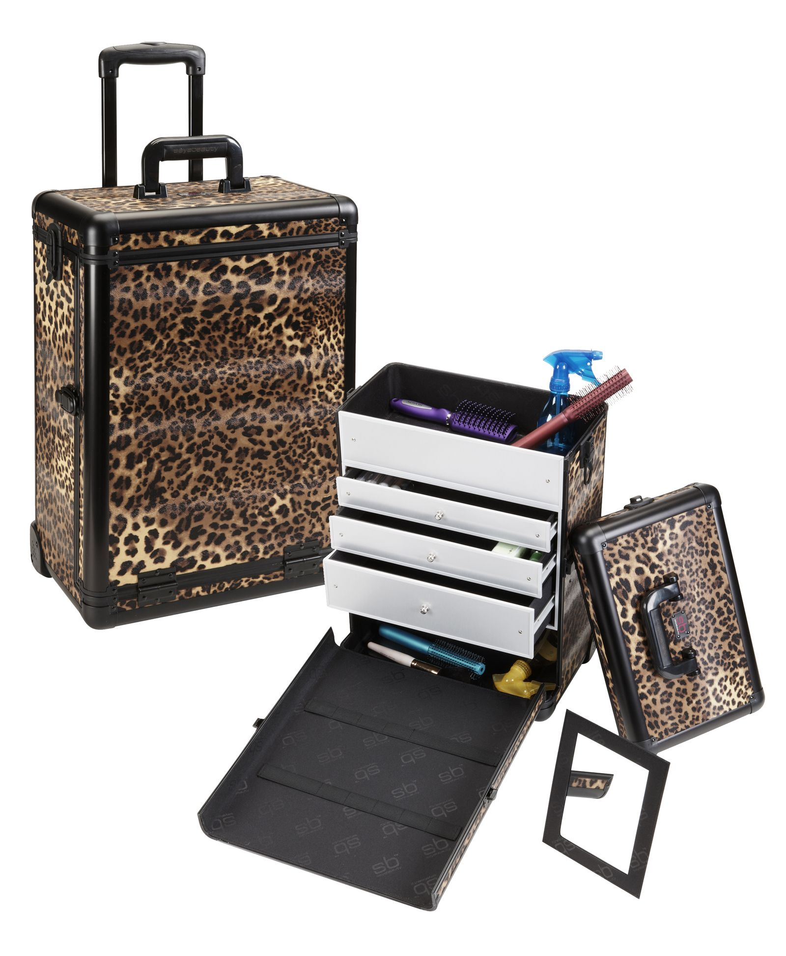 Professional Rolling Makeup Case w/ 3 Drawers Leopard