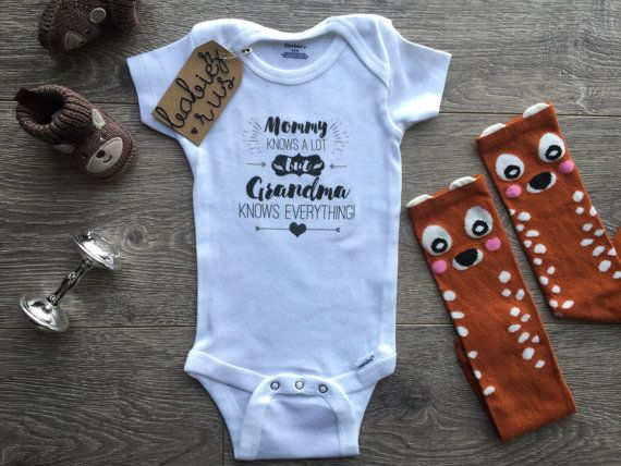 Baby Shower Gifts Hipster ~ Mommy knows a lot but grandma knows everything baby onesie hipster