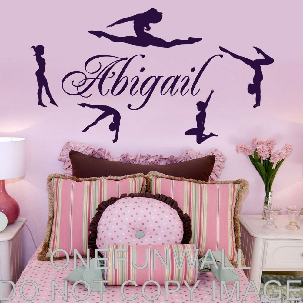 Gymnastics Gymnasts Dance Personalized Name Vinyl Wall Decal - Custom vinyl wall decals dance