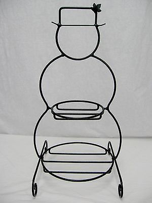 Longaberger Wrought Iron Snowman Basket Plate Rack Stand Holiday ...