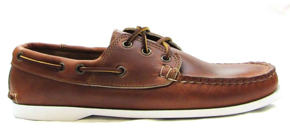 Quoddy Classic Boat Shoe Whiskey Cavelier with White Siped