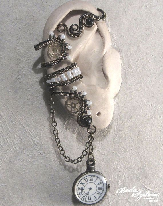 TIME KEEPER - STEAMPUNK ear wrap - black, white and bronze by bodaszilvia