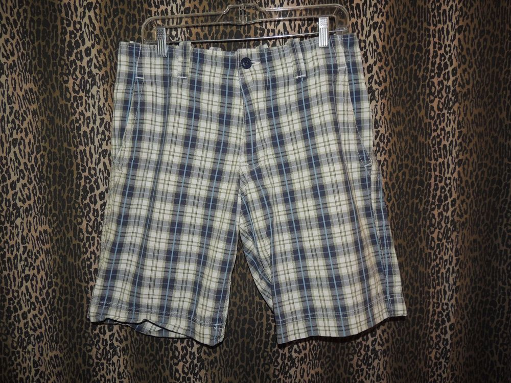 "Gap Men's Plaid Checked 4 PKT Long Bermuda Flat Front Rugged Shorts Size 32""x10"" #GAP #KhakisChinos"