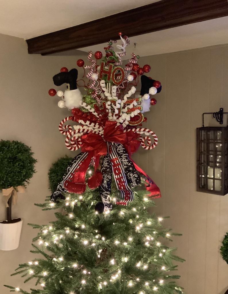 Christmas Tree Topper Santa Christmas Tree Topper Elf Leg | Etsy