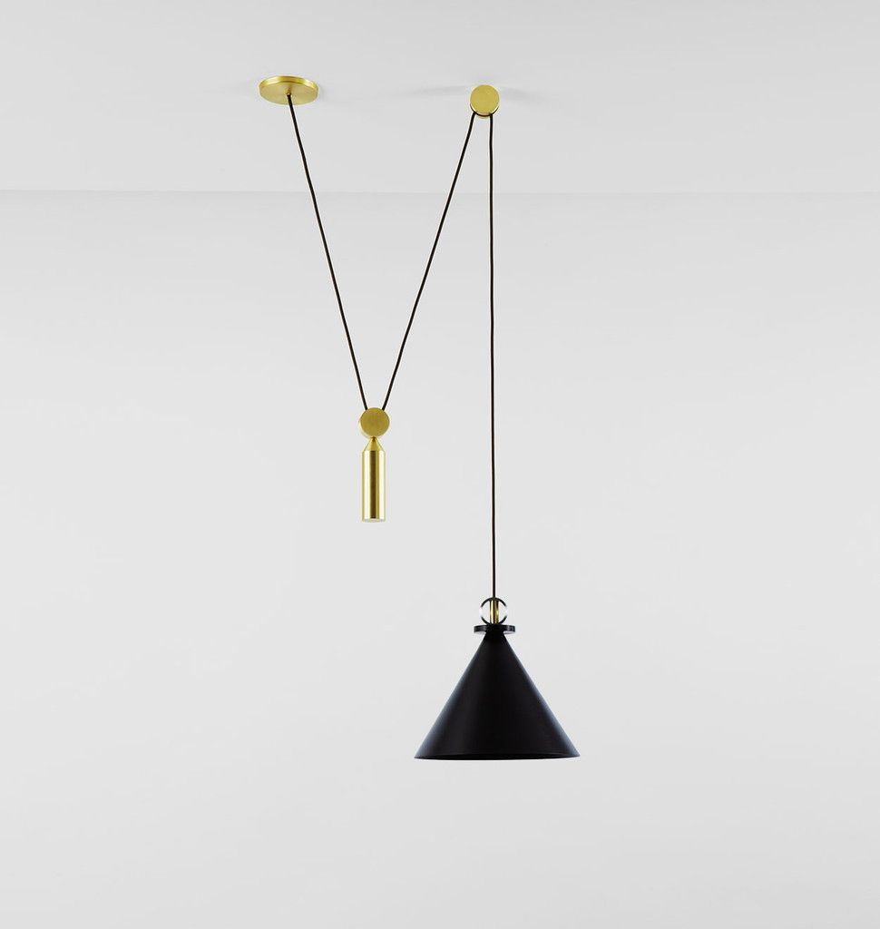 Shape Up Pendant - Cone (Blackened steel). Designed by Ladies & Gentlemen Studio for Roll & Hill