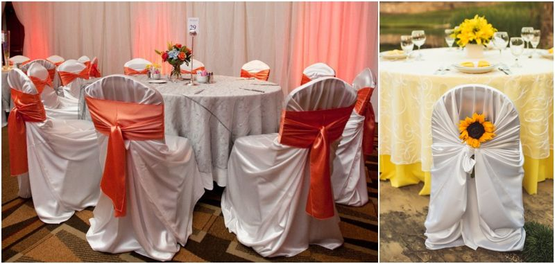 Love the sunflower chair cover decor | wedding stuff ...